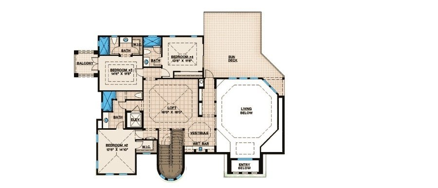 Second level floor plan with three bedrooms, a large loft, and a sizable sun deck.