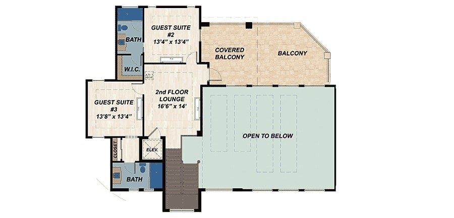 Second level floor plan with a second floor lounge, large balcony and two additional guest suites, each with its own baths and closets.