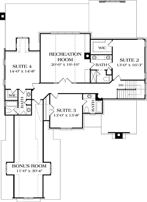 Second level floor plan with three bedroom suites, a recreation room, and a bonus room over the garage.