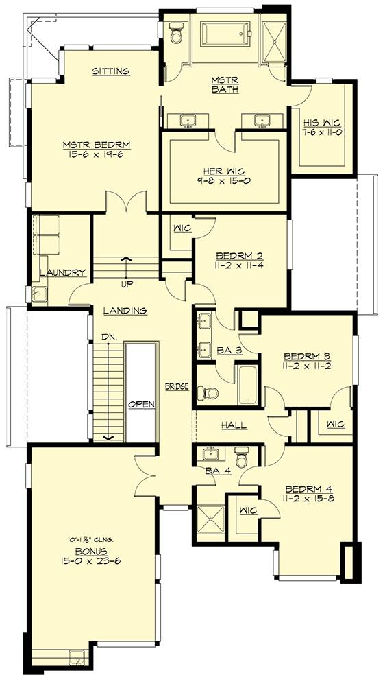 Second level floor plan with a bonus room, laundry, three bedrooms, and a primary suite with a sitting area and separate his and her closets.