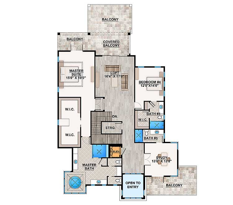 Second level floor plan with loft, a study, and two bedrooms including the master suite.