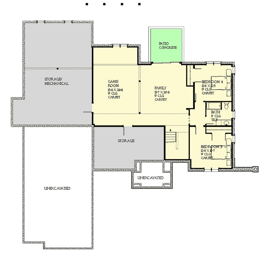 Lower level floor plan with two additional bedrooms, family and game rooms, and plenty of storage space.