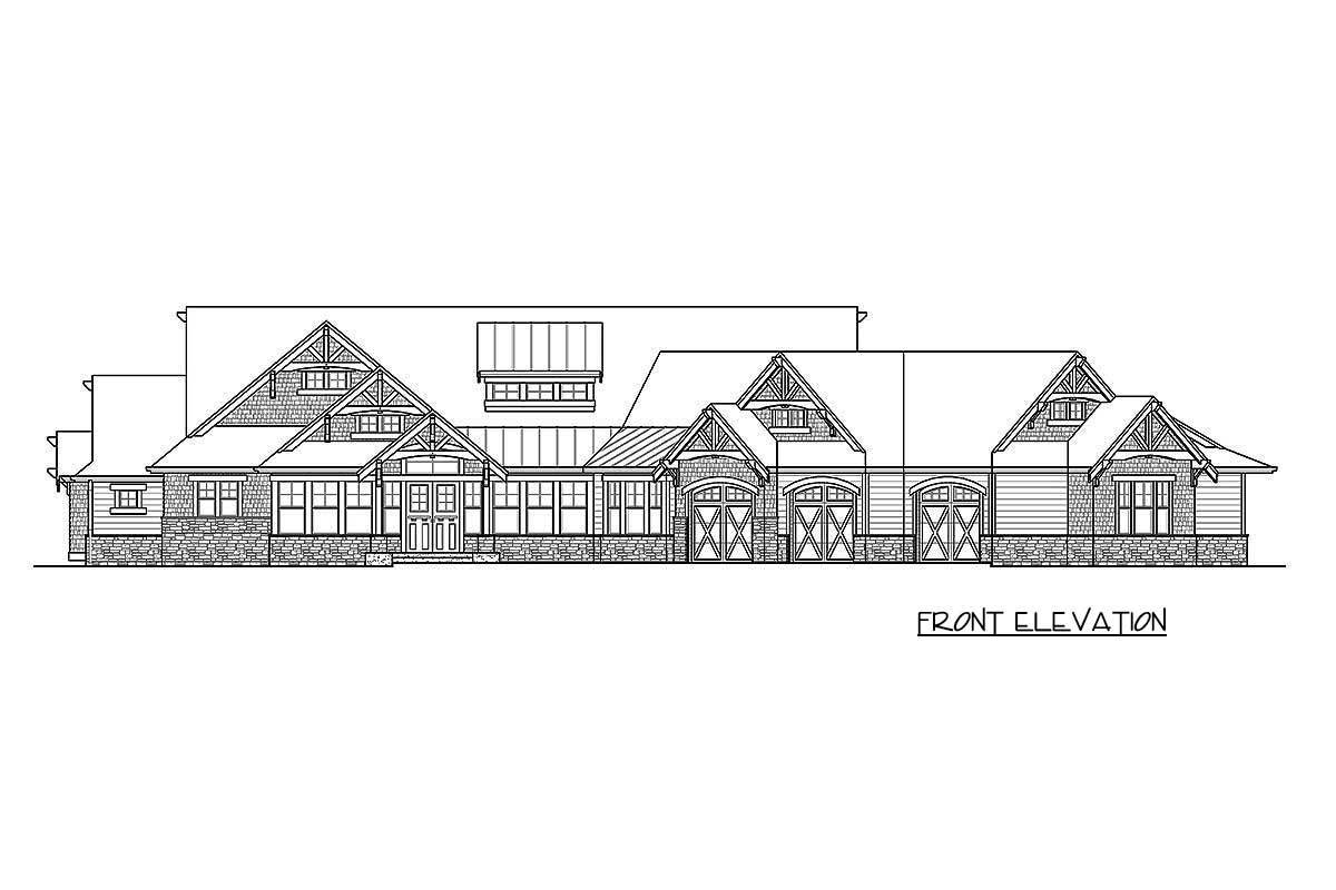 Front elevation sketch of the single-story 4-bedroom craftsman home.