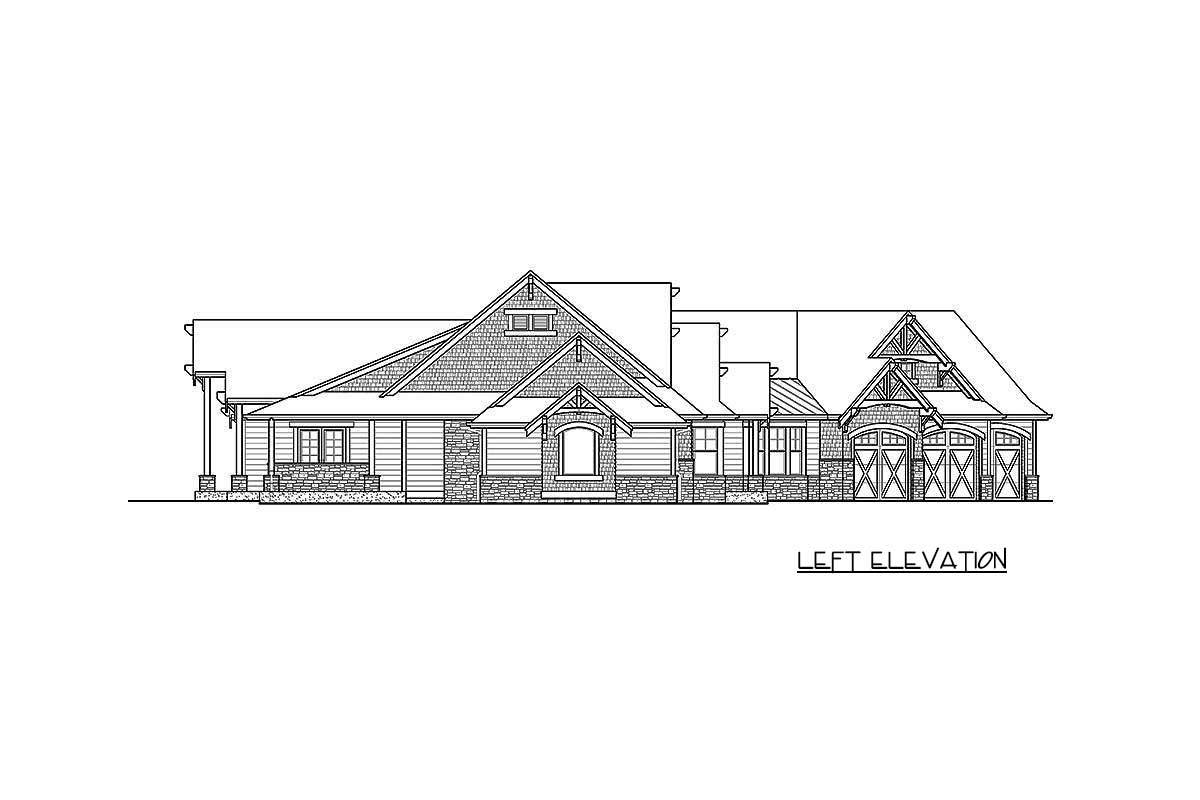 Left elevation sketch of the single-story 4-bedroom craftsman home.