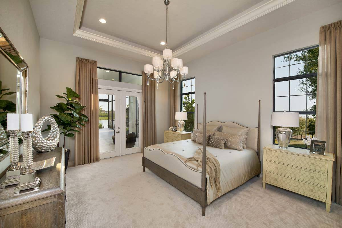 Master bedroom with beige carpet flooring, a tray ceiling, and a french door that leads out to the covered lanai.