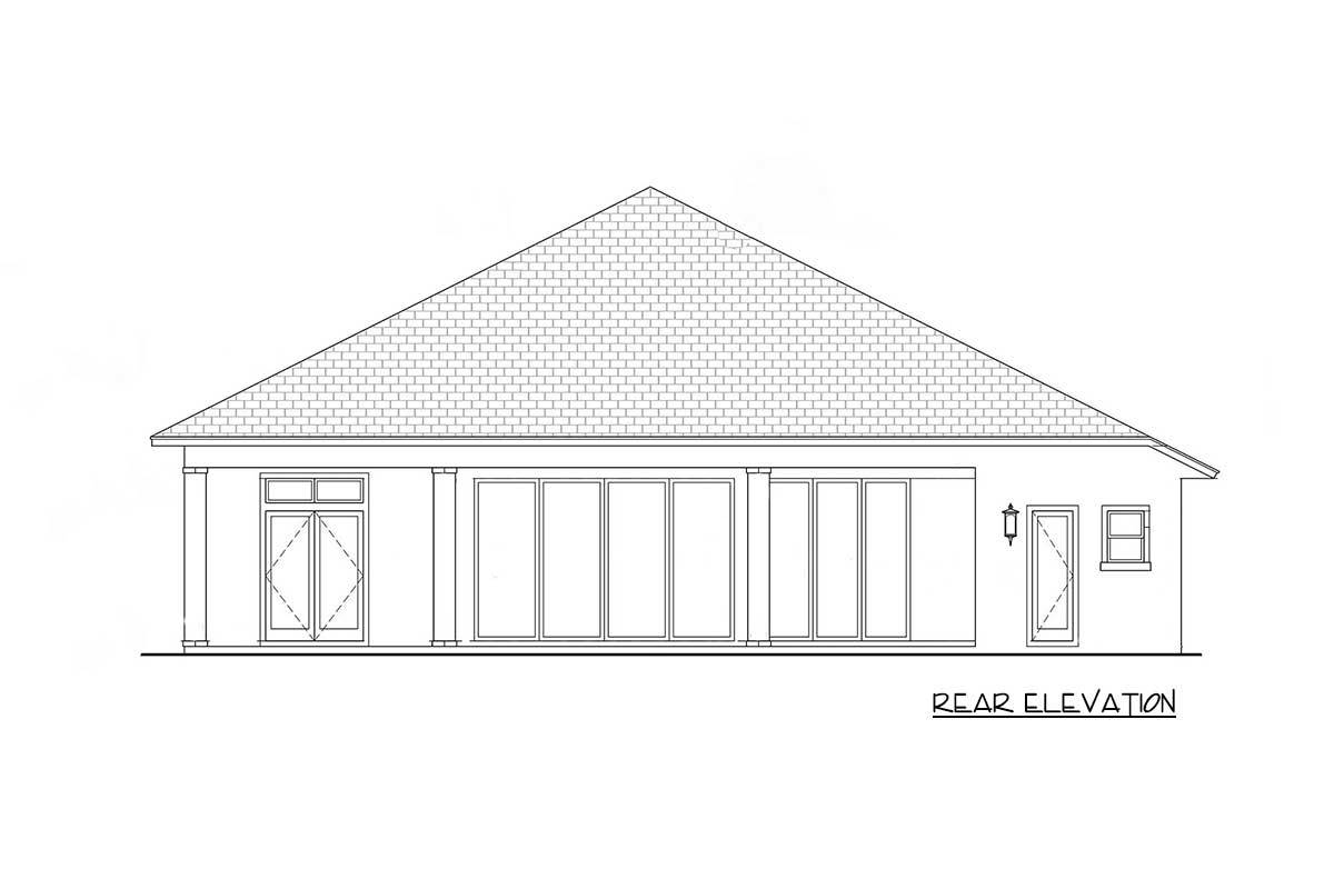 Rear elevation sketch of the single-story 4-bedroom Florida home.