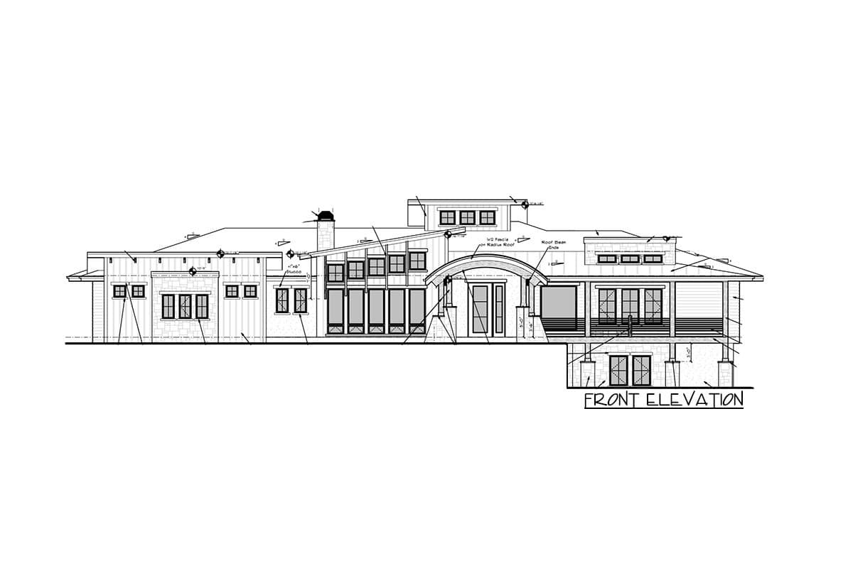Front elevation sketch of the single-story 4-bedroom modern mountain home.
