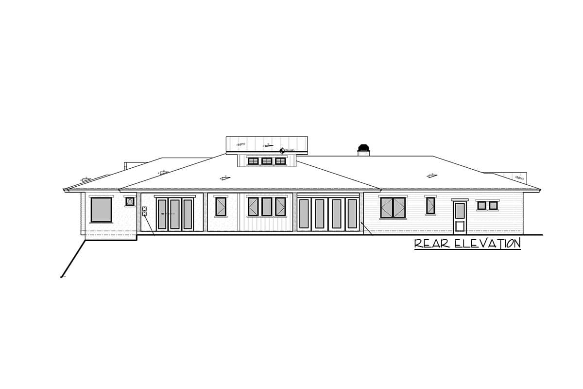 Rear elevation sketch of the single-story 4-bedroom modern mountain home.