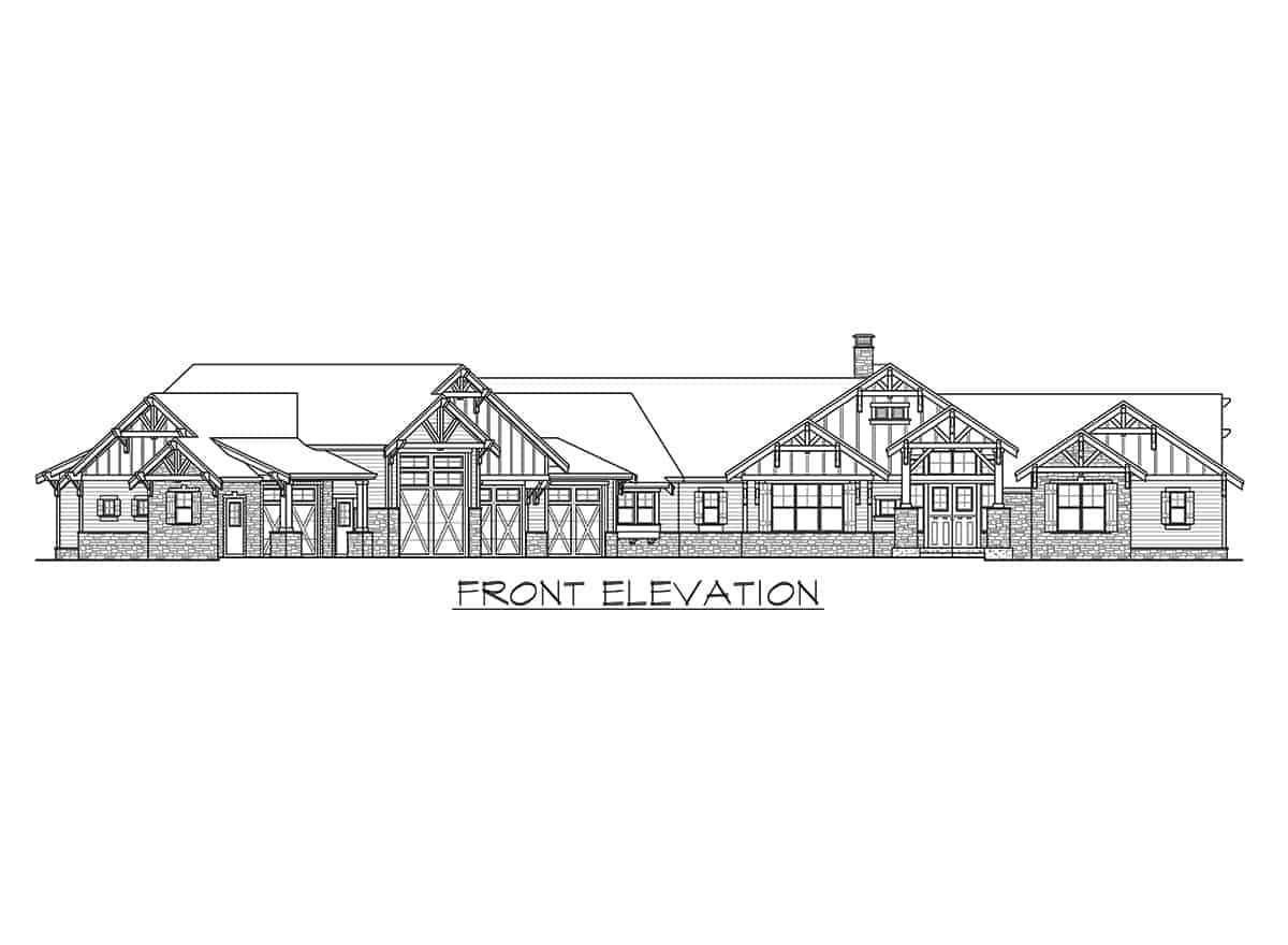 Front elevation sketch of the single-story mountain ranch home.