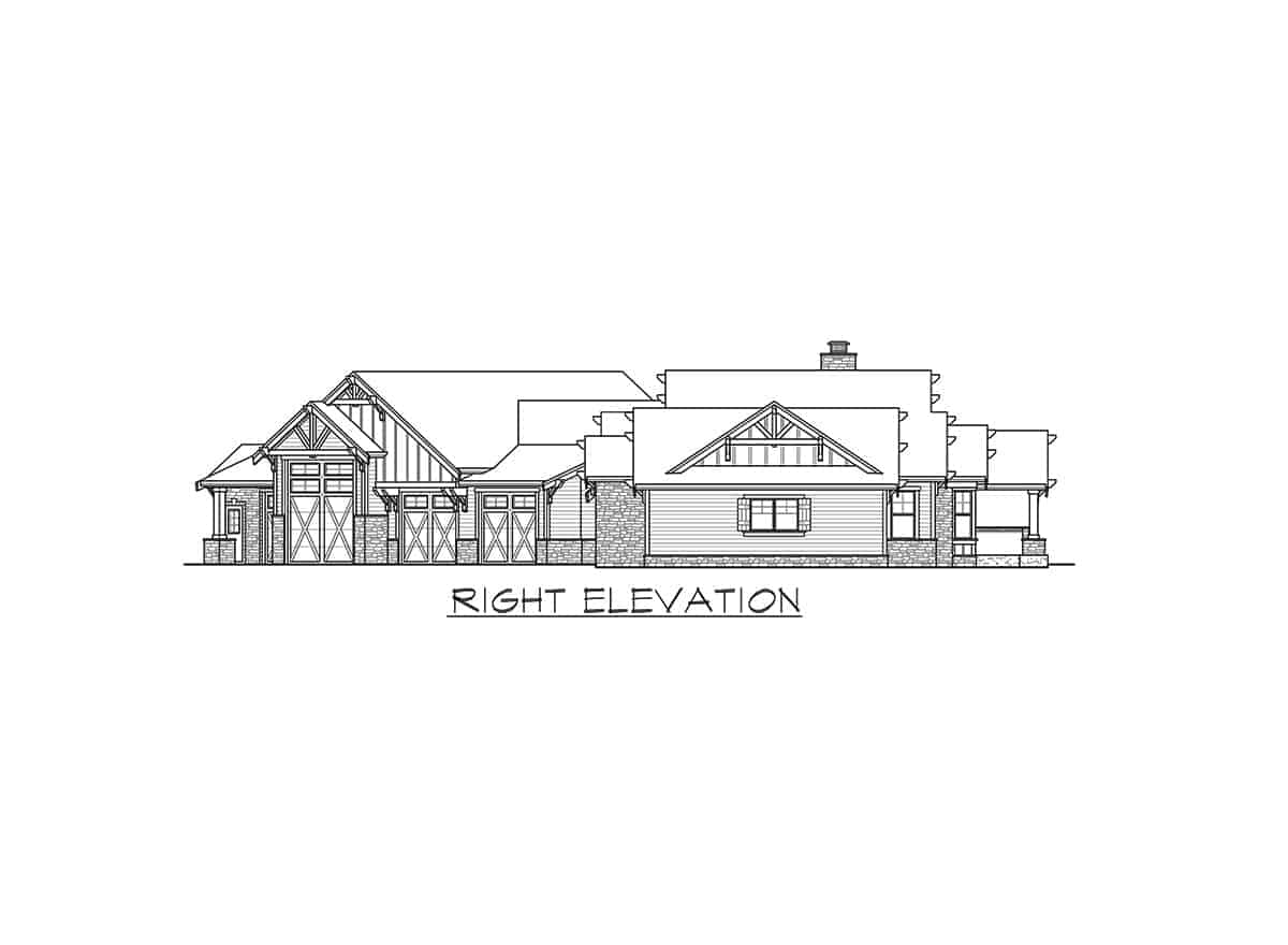 Right elevation sketch of the single-story mountain ranch home.