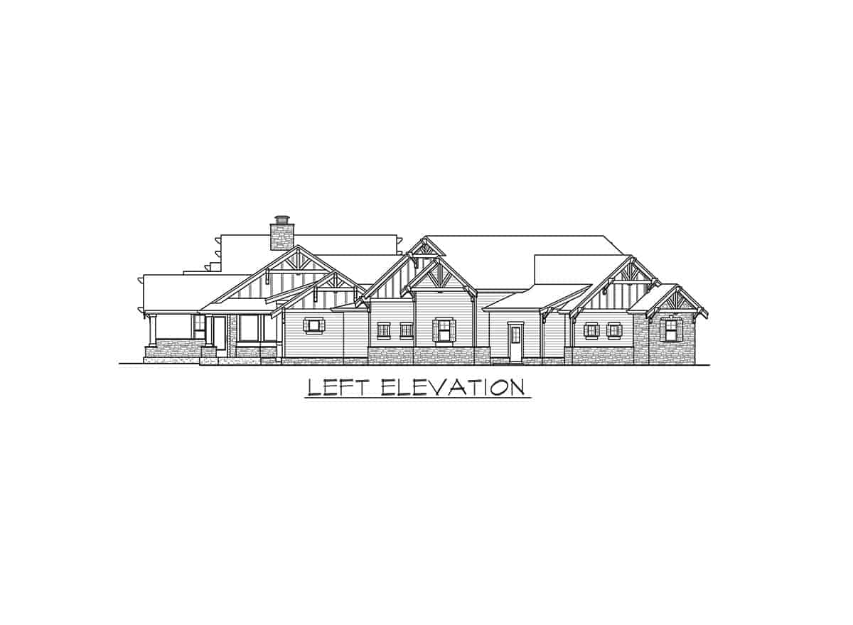 Left elevation sketch of the single-story mountain ranch home.