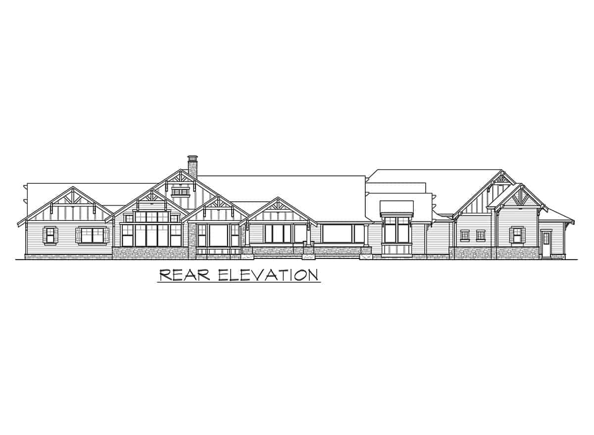 Rear elevation sketch of the single-story mountain ranch home.