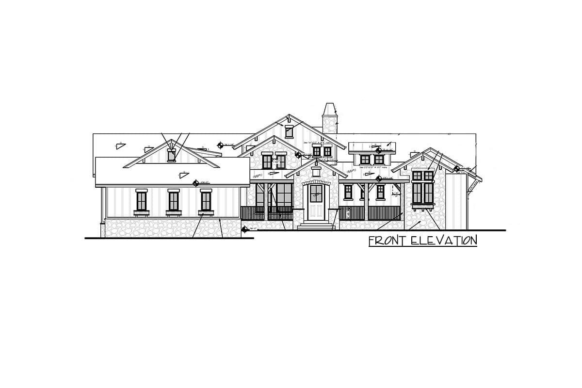 Front elevation sketch of the single-story 5-bedroom new American home.