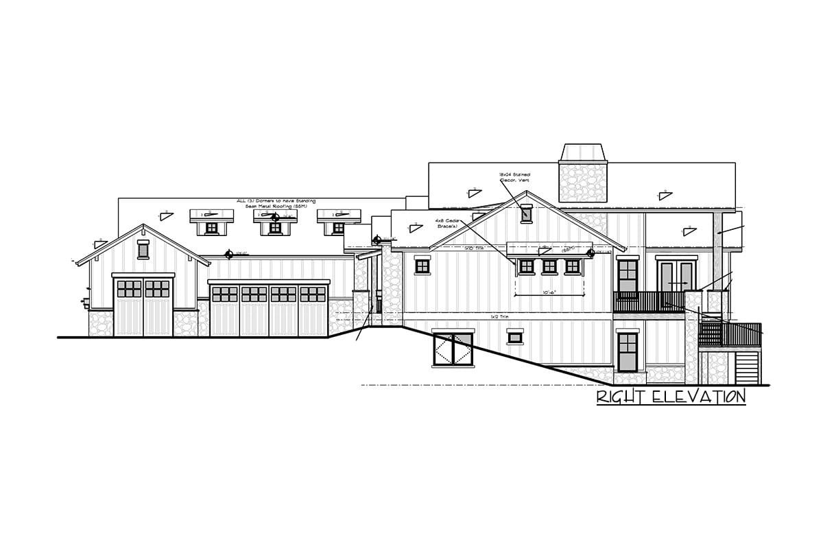 Right elevation sketch of the single-story 5-bedroom new American home.