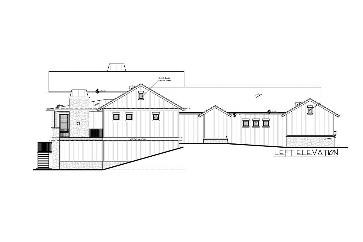 Left elevation sketch of the single-story 5-bedroom new American home.