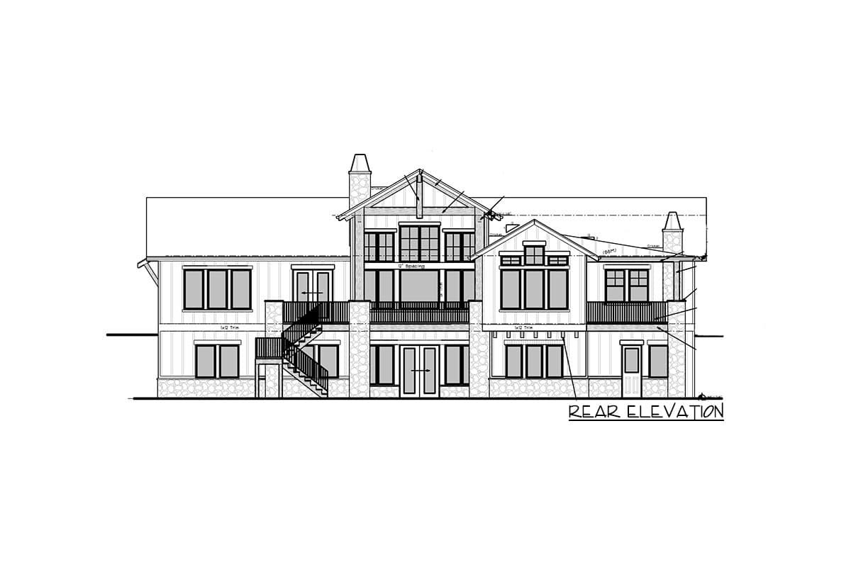 Rear elevation sketch of the single-story 5-bedroom new American home.