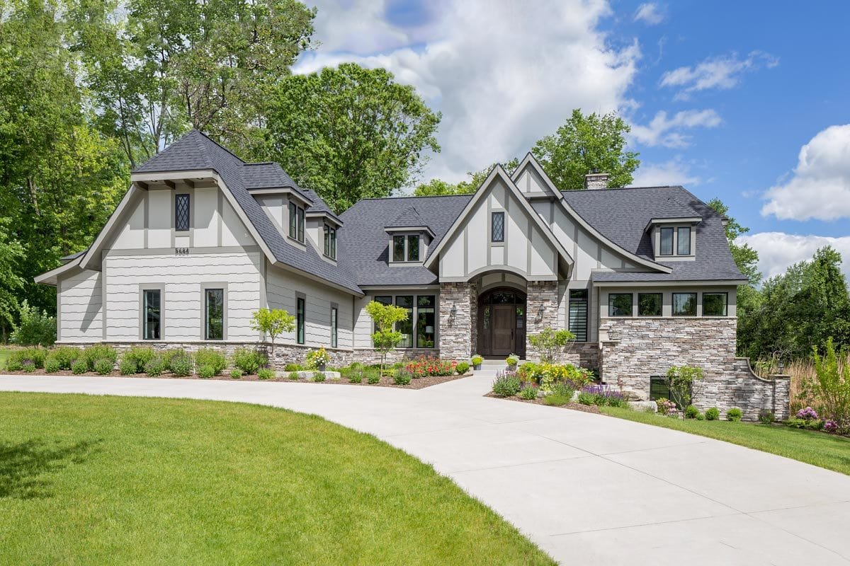 Single-Story 5-Bedroom Tudor Home with Finished Lower Level