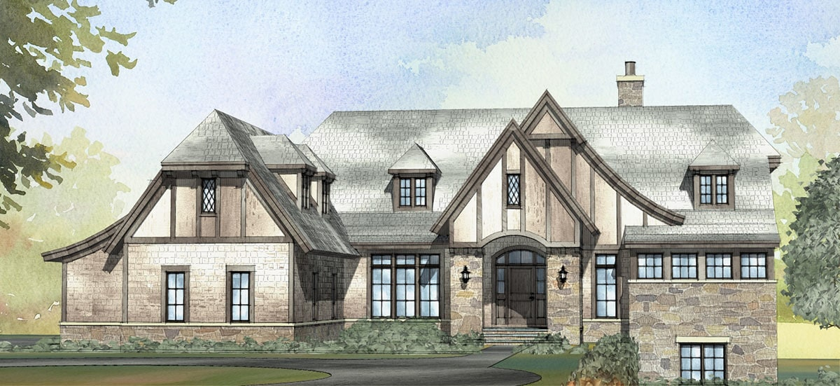 Computer rendering of the single-story Tudor home.