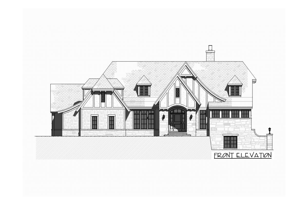 Front elevation sketch of the single-story 5-bedroom Tudor home.