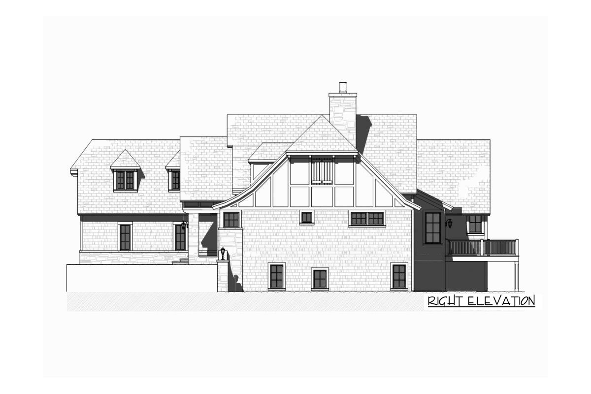 Right elevation sketch of the single-story 5-bedroom Tudor home.