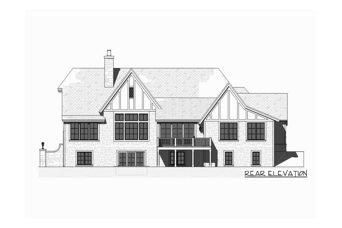 Rear elevation sketch of the single-story 5-bedroom Tudor home.