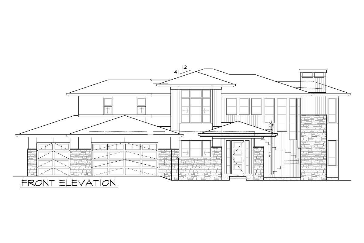 Front elevation sketch of the two-story 3-bedroom Northwest home.