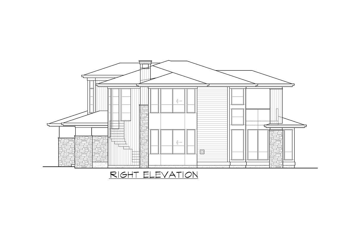 Right elevation sketch of the two-story 3-bedroom Northwest home.