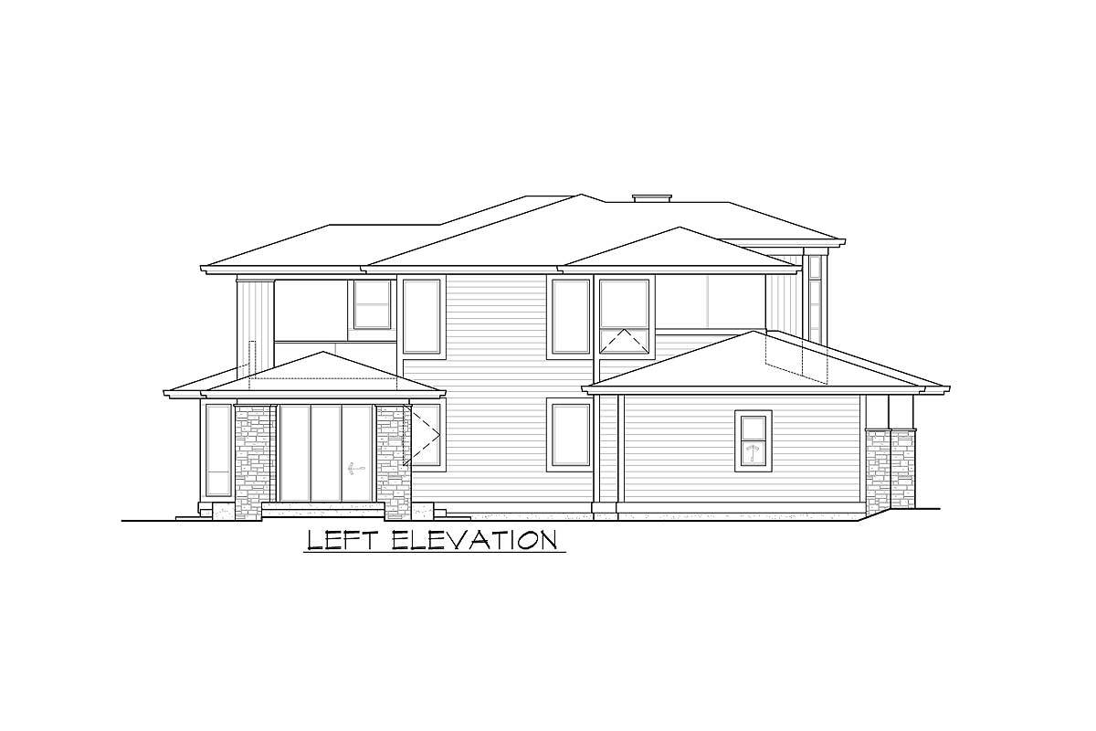Left elevation sketch of the two-story 3-bedroom Northwest home.