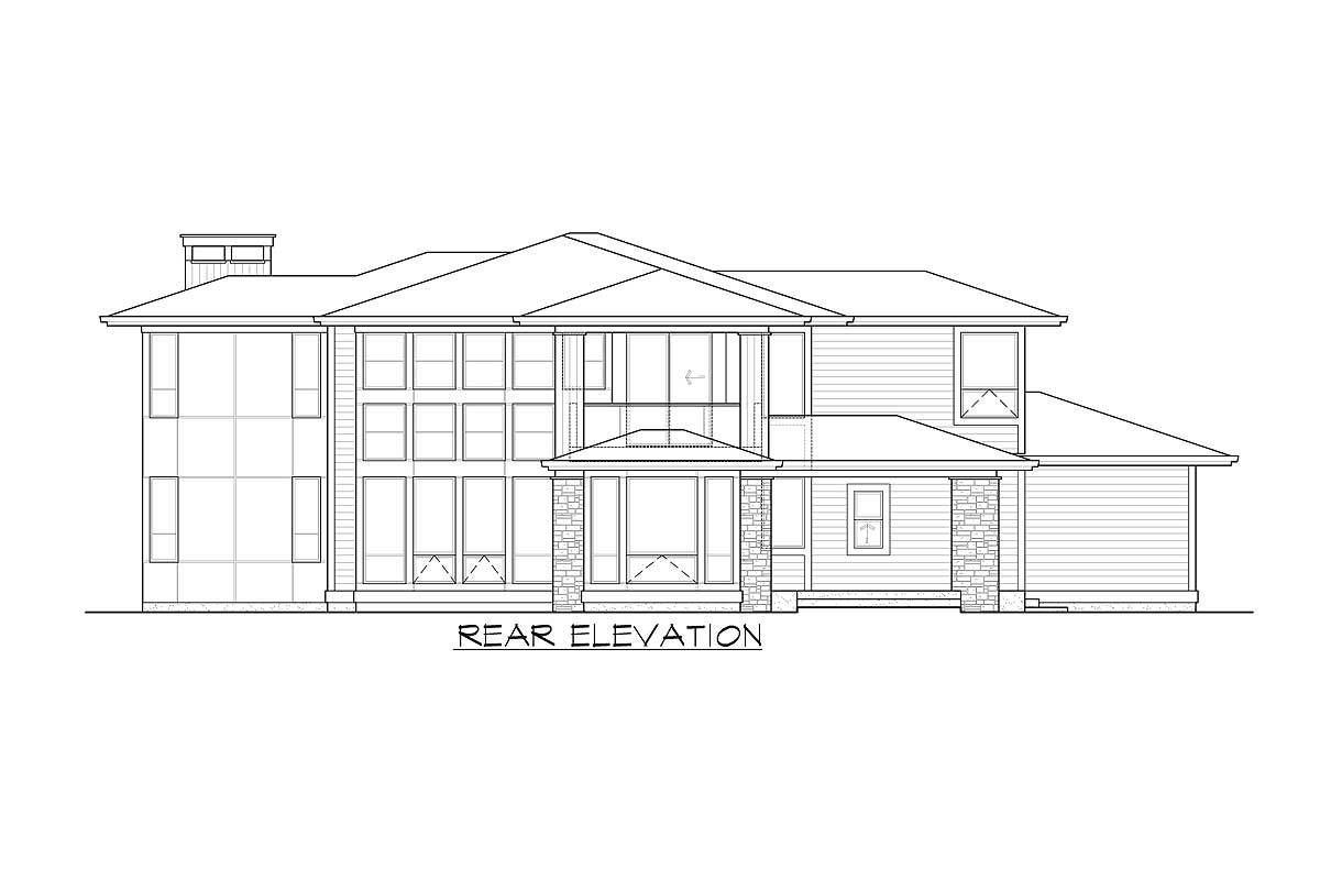 Rear elevation sketch of the two-story 3-bedroom Northwest home.