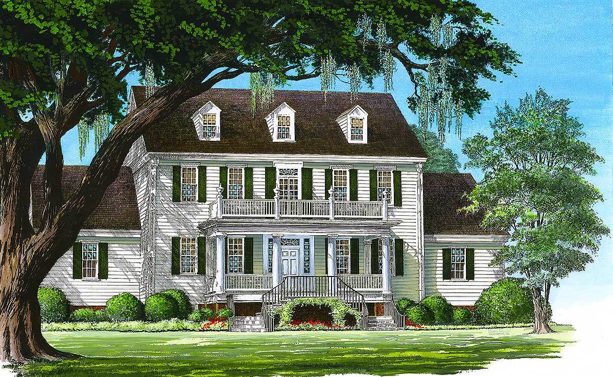 Perspective sketch of the two-story 4-bedroom Colonial home.
