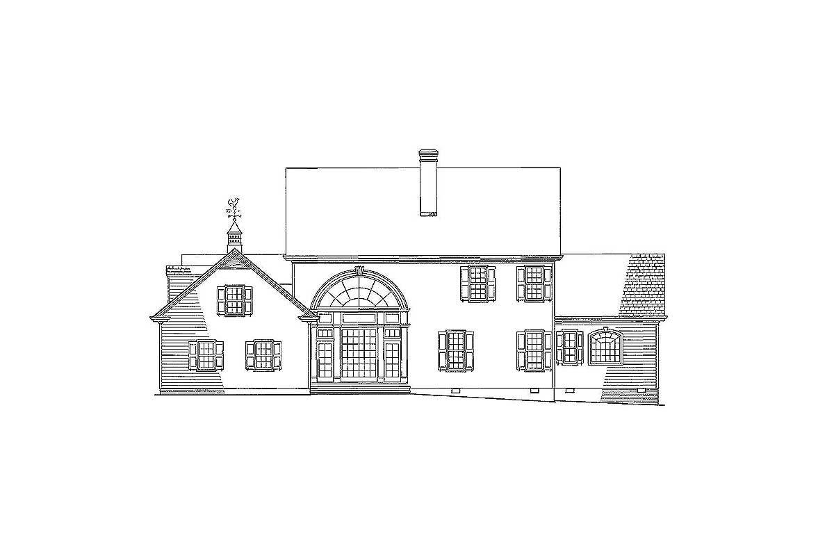 Rear elevation sketch of the two-story 4-bedroom Colonial home.