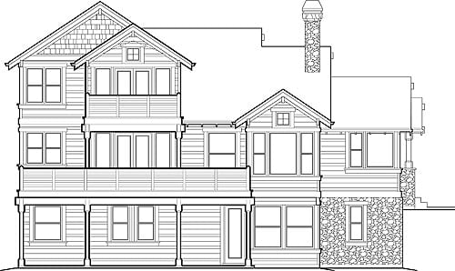 Rear elevation sketch of the two-story Doncaster home.