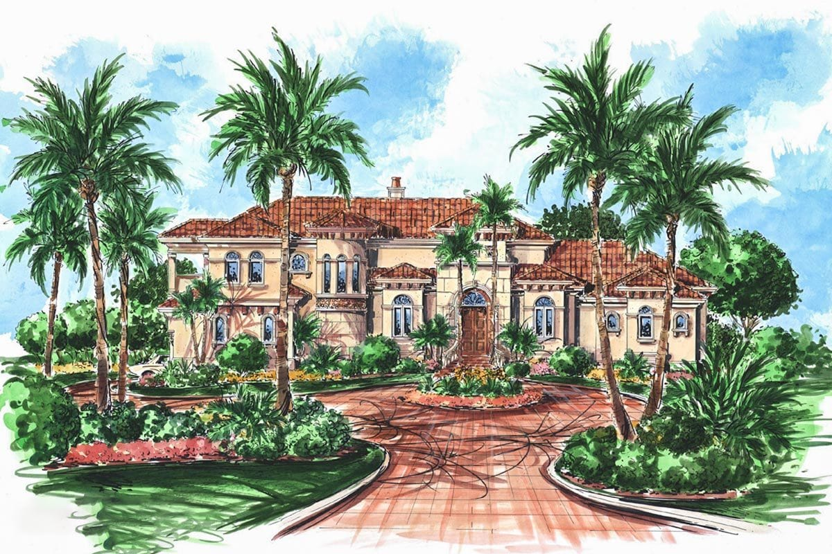 Perspective sketch of the two-story Mediterranean home.