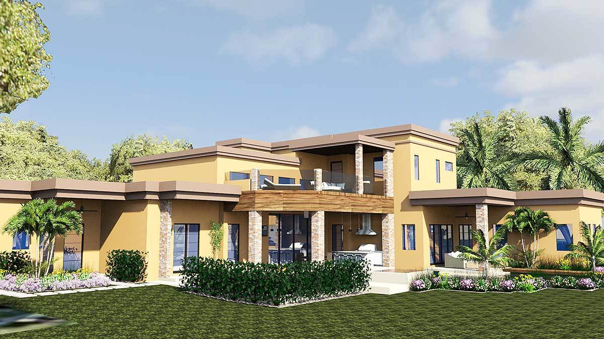 Angled rear view with covered lanai and upper balcony enclosed in frameless glass and brick columns.