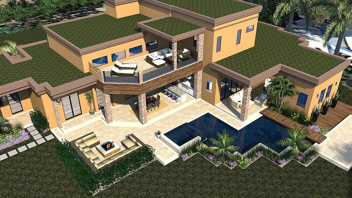 Aerial view showing the enticing balconies, sparkling pool, and fire pit seating.
