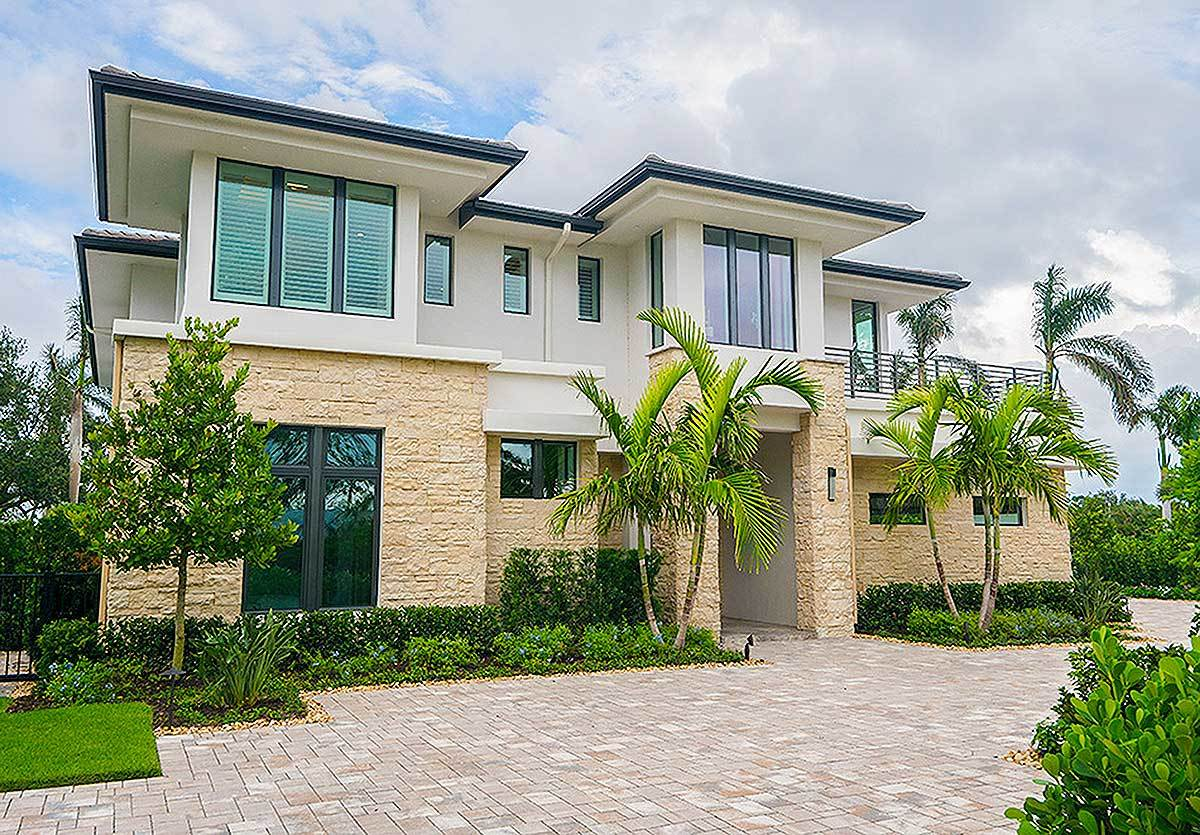 Two-Story 4-Bedroom Upscale Contemporary Home with Multiple Upper Balconies