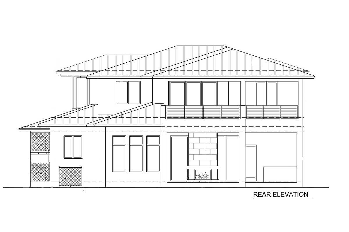 Rear elevation sketch of the two-story 4-bedroom upscale contemporary home.