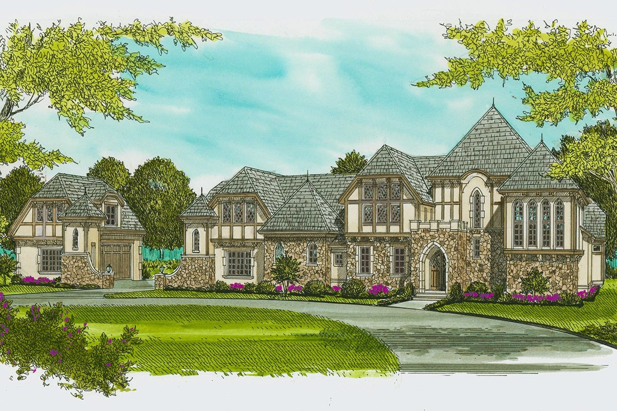 Perspective sketch of the two-story Tudor home.