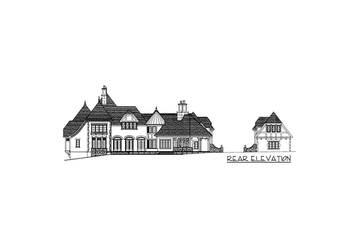Rear elevation sketch of the two-story Tudor home.