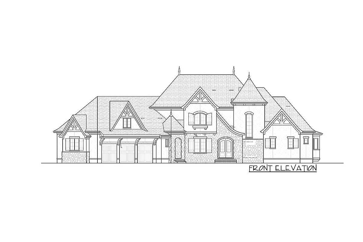 Front elevation sketch of the two-story Tudor mansion.
