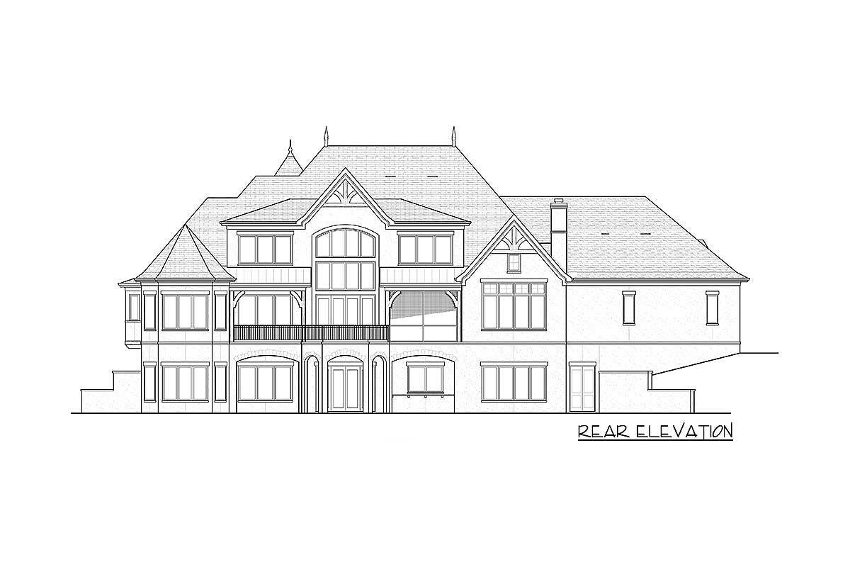 Rear elevation sketch of the two-story Tudor mansion.