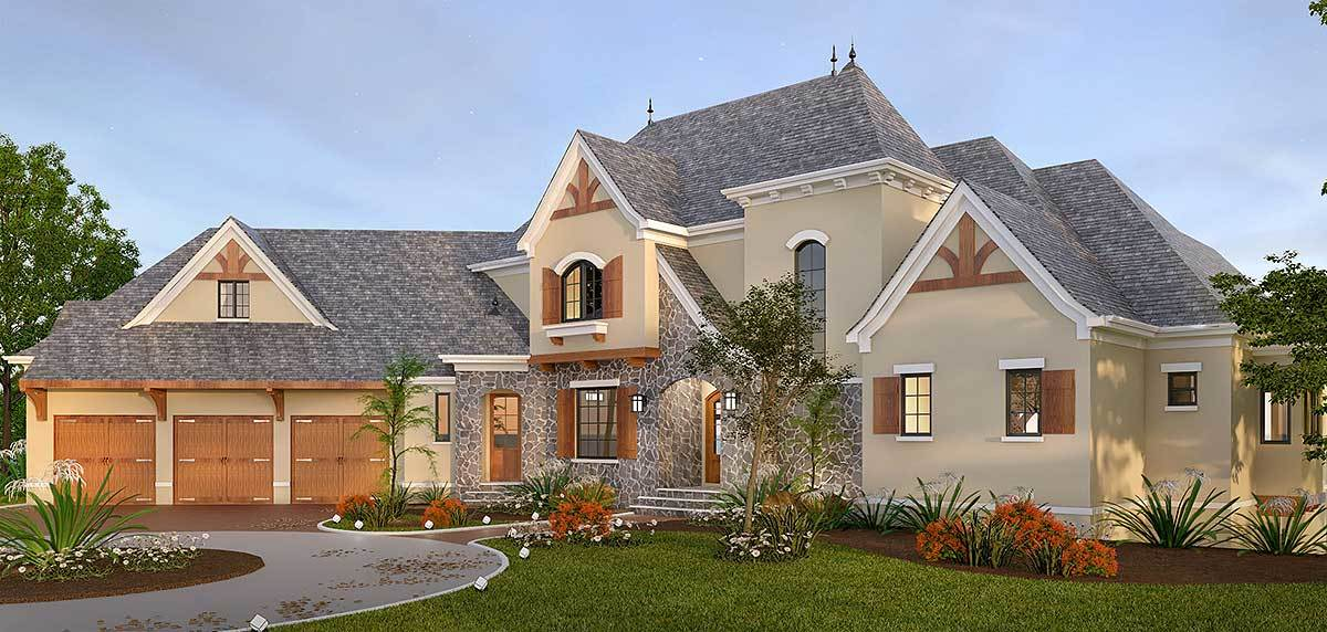 Home's front exterior view with decorative wood trims, stone accents, a covered entry, and an angled garage with wooden double doors.