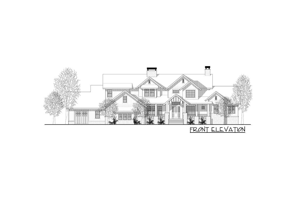 Front elevation sketch of the two-story 6-bedroom mountain home.