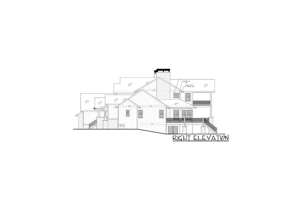 Right elevation sketch of the two-story 6-bedroom mountain home.
