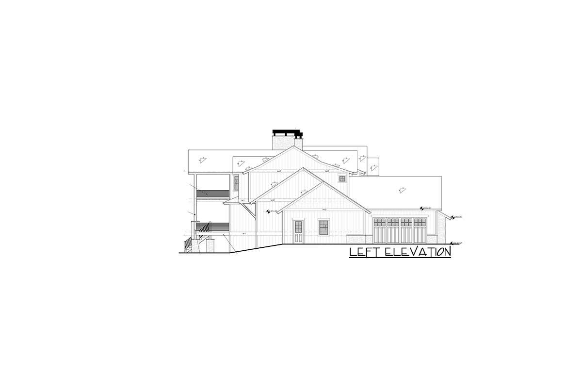 Left elevation sketch of the two-story 6-bedroom mountain h