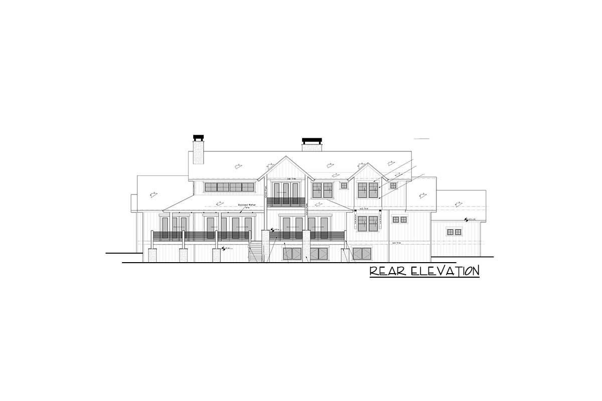 Rear elevation sketch of the two-story 6-bedroom mountain home.