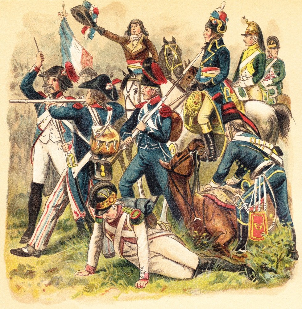 A historical illustration of French soldiers.