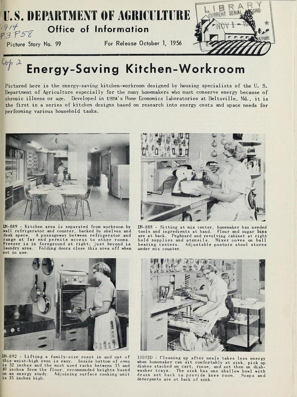 Article from the US. Department of Agriculture regarding Energy-Saving Kitchen-Workroom.