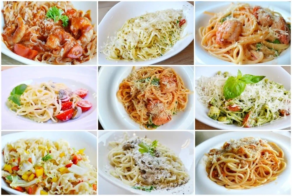 A grid of different types of pasta sauce.