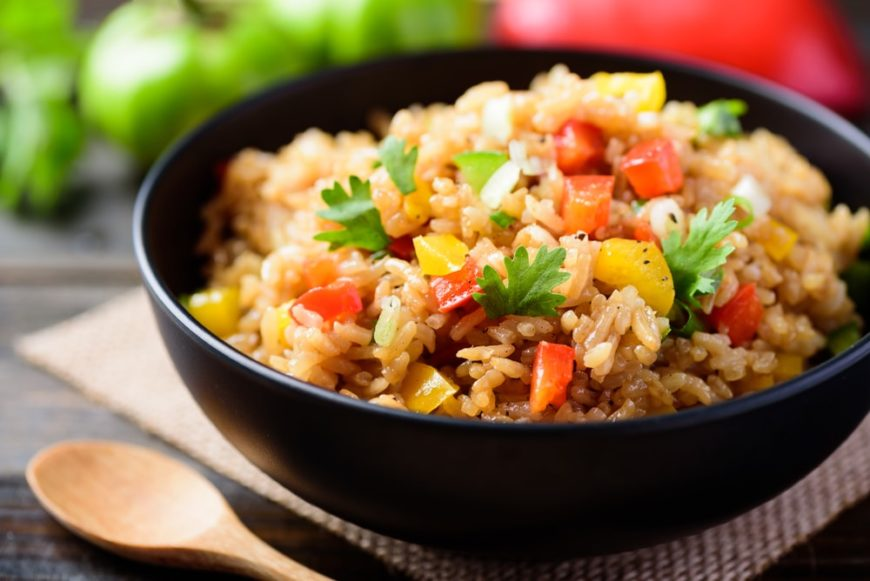 A lovely bowl of vegan fried rice.